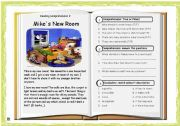 English Worksheets: Reading Comprehension 02: Mike´s New Room + Key