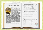 English Worksheets: Reading Comprehension 01: On our class trip + Key