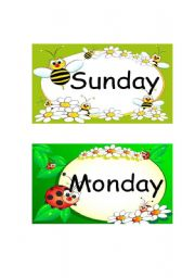 English Worksheets: Sunday & Monday Flashcards-1