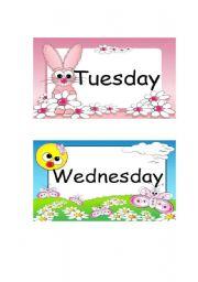 English Worksheet: Tuesday & Wednesday Flashcards