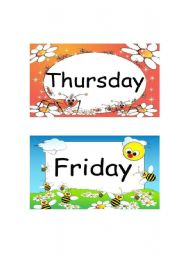 English Worksheets: Thursday, Friday & Saturday Flashcards