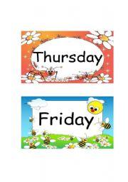 English Worksheet: Thursday, Friday & Saturday Flashcards