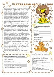 English Worksheets: LET US LEARN ABOUT... LION (2 pages with key)