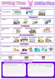 English Worksheet: Writing Time: Holiday Plans.