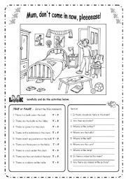 English Worksheets: THERE IS � ARE  + Prepositions - B&W