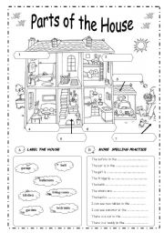 English Worksheet: PARTS  OF  THE  HOUSE - B&W