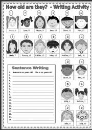 English Worksheets: How old are they? Writing Activity