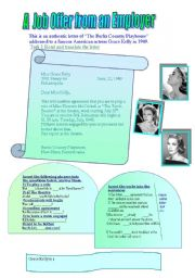 English worksheet: About Grace Kelly