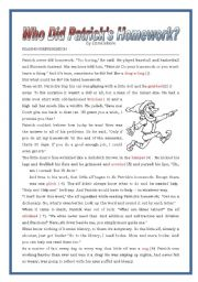 English Worksheet: Who did Patrick �s homework? reading plus exercises