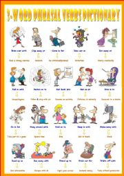 English Worksheets: Fourth series of 3-Word Phrasal Verbs. Pictionary (Part 1/3). Come in for = Be criticized/praised