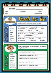English Worksheet: VERB TO BE ( 2 PAGES )