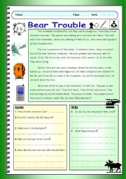 English Worksheets: Imaginative Reading Comprehension - Bear Trouble (Elementary)