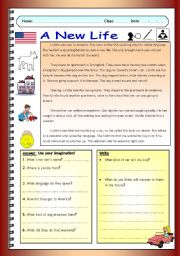 English Worksheets: Imaginative Reading Comprehension - A New Life (Low-intermediate)