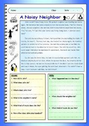 English Worksheets: Imaginative Reading Comprehension - A Noisy Neighbor (Elementary - Pre-intermediate)