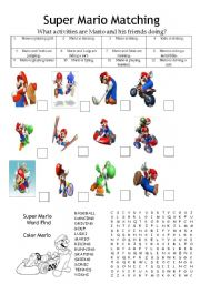 English Worksheets: Super Mario Matching