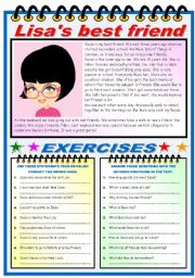 English Worksheets: LISA�S BEST FRIEND- READING AND COMPREHENSION (TWO PAGES)