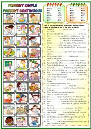 English Worksheet: PRESENT SIMPLE OR PRESENT CONTINUOUS ( KEY+B&W VERSION INCLUDED)