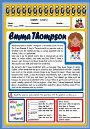English Worksheet: EMMA THOMPSON (3 PAGES)
