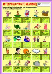Printables Example Of Antonyms english exercises antonyms opposite meanings level elementary age 8 12 downloads 529
