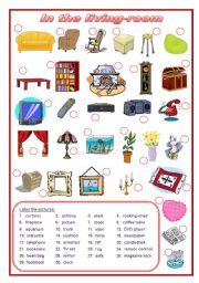 English Worksheet: In the living-room (editable)
