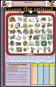 English Worksheets: Guess the animal (part 1)