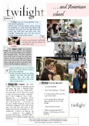 English Worksheet: Twilight and American School