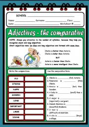 English Worksheet: ADJECTIVES - THE COMPARATIVE ( 2 PAGES )
