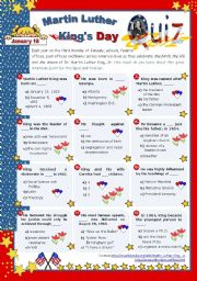 English Worksheets: January 18, Martin Luther king�s Day  -  Quiz
