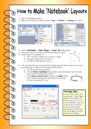 English Worksheet: How to Make �Spiral Notebook� Layouts