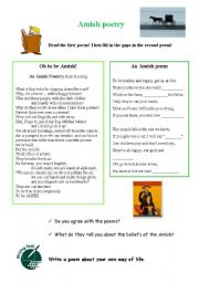 English Worksheet: Amish people - poetry - alternative lifestyle