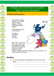 English Worksheet: Inside the continent Europe - The UK (6 pages)