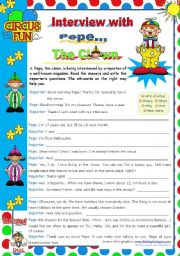 English Worksheets: Interview with Pepe, The Clown  - Writing leading to Speaking (roleplay)