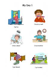 English Worksheets: My day (Part 1 of 3)