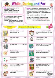 English worksheet: while, during, for