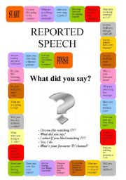 English worksheet: Reported Speech - a boardgame - fully editable