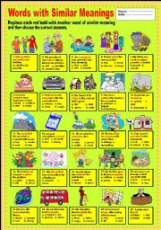 English Worksheets: Words with similar meanings
