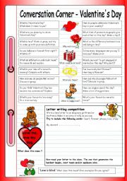 English Worksheet: Conversation Corner - Valentine�s Day