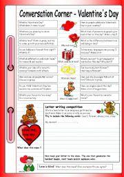 English Worksheet: Conversation Corner - Valentine�s Day