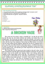 English Worksheets: READING COMPREHENSION TEST (2 PAGES)