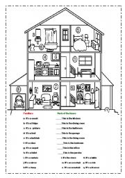 English Worksheet: Match the furniture and rooms in the house