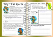 English Worksheets: Four Skills Worksheet - Why I like Sports