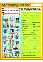English Worksheet: Describing words