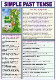 English Worksheet: SIMPLE PAST TENSE (JACK AND THE BEANSTALK)