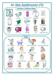 English Worksheet: In the bathroom 1: pictionary  (editable)