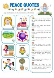 English Worksheets: PEACE QUOTES AND ACTIVITIES - 2 pages