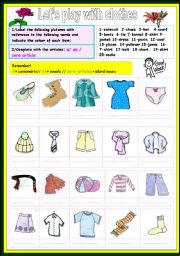 English Worksheet: let�s play with clothes
