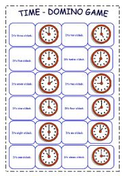 English Worksheets: TIME - DOMINO GAME