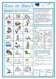 English Worksheet: Can or can´t