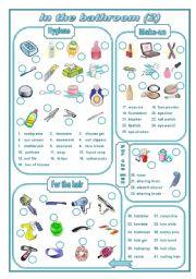 English Worksheet: In the bathroom 2 (editable)