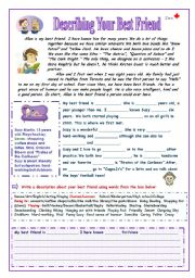 English Worksheets: Describing your Best Friend